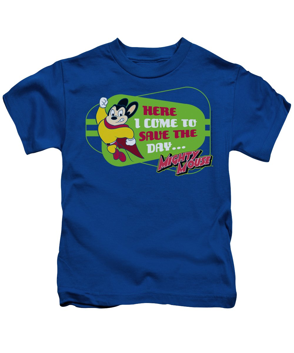 Mighty Mouse Kids T-Shirt featuring the digital art Mighty Mouse - Here I Come by Brand A