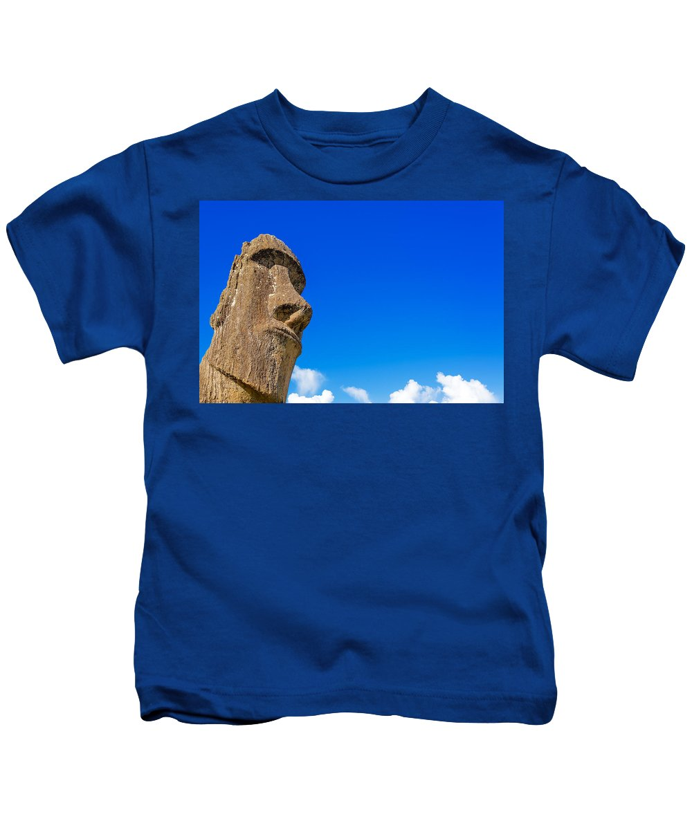 Chile Kids T-Shirt featuring the photograph Moai And Blue Sky by Jess Kraft
