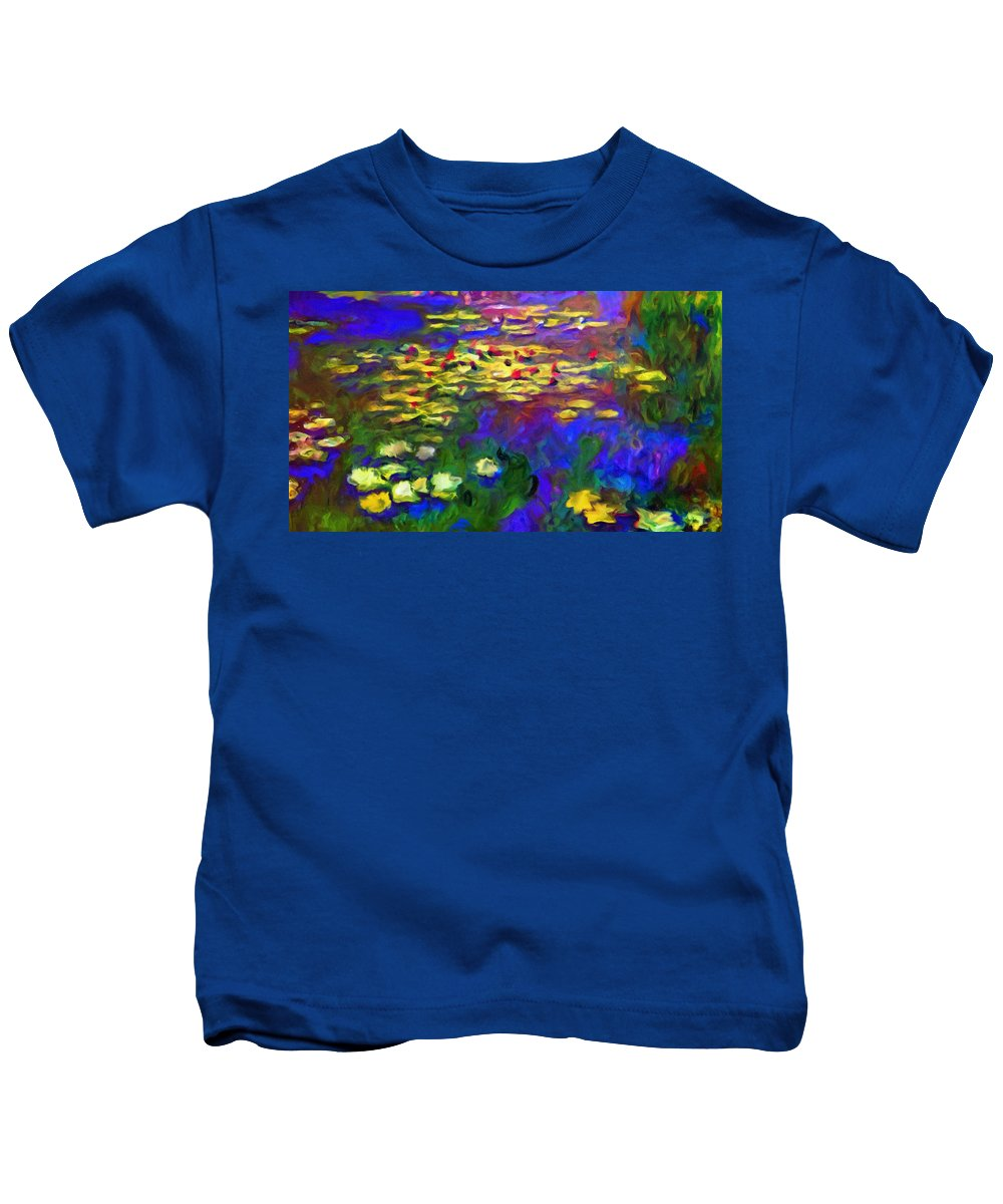 Abstract Kids T-Shirt featuring the mixed media Monet Would Be Horrified by Georgiana Romanovna