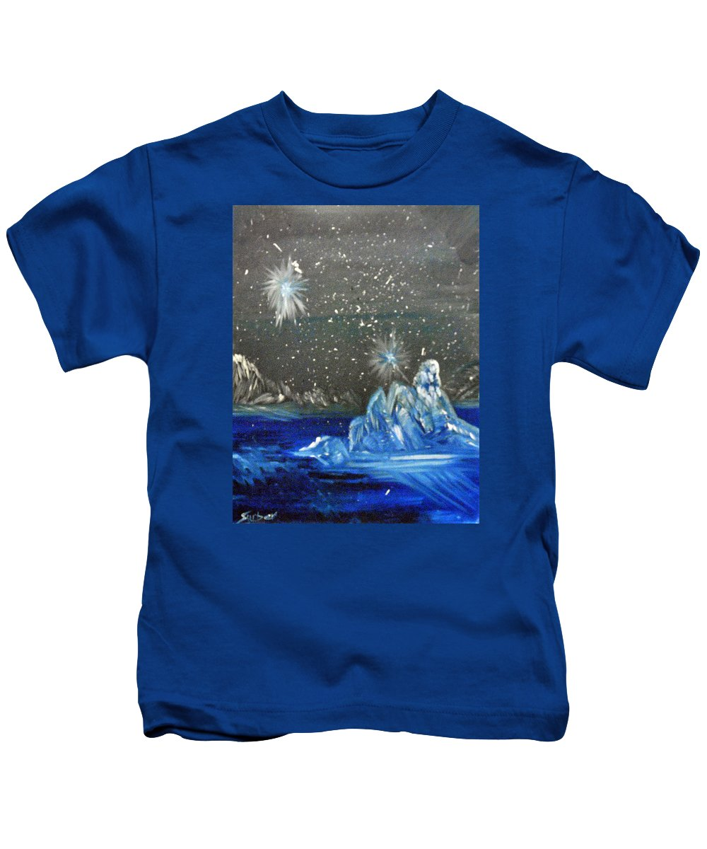 Moon Kids T-Shirt featuring the painting Moon With A Blue Dress by Suzanne Surber