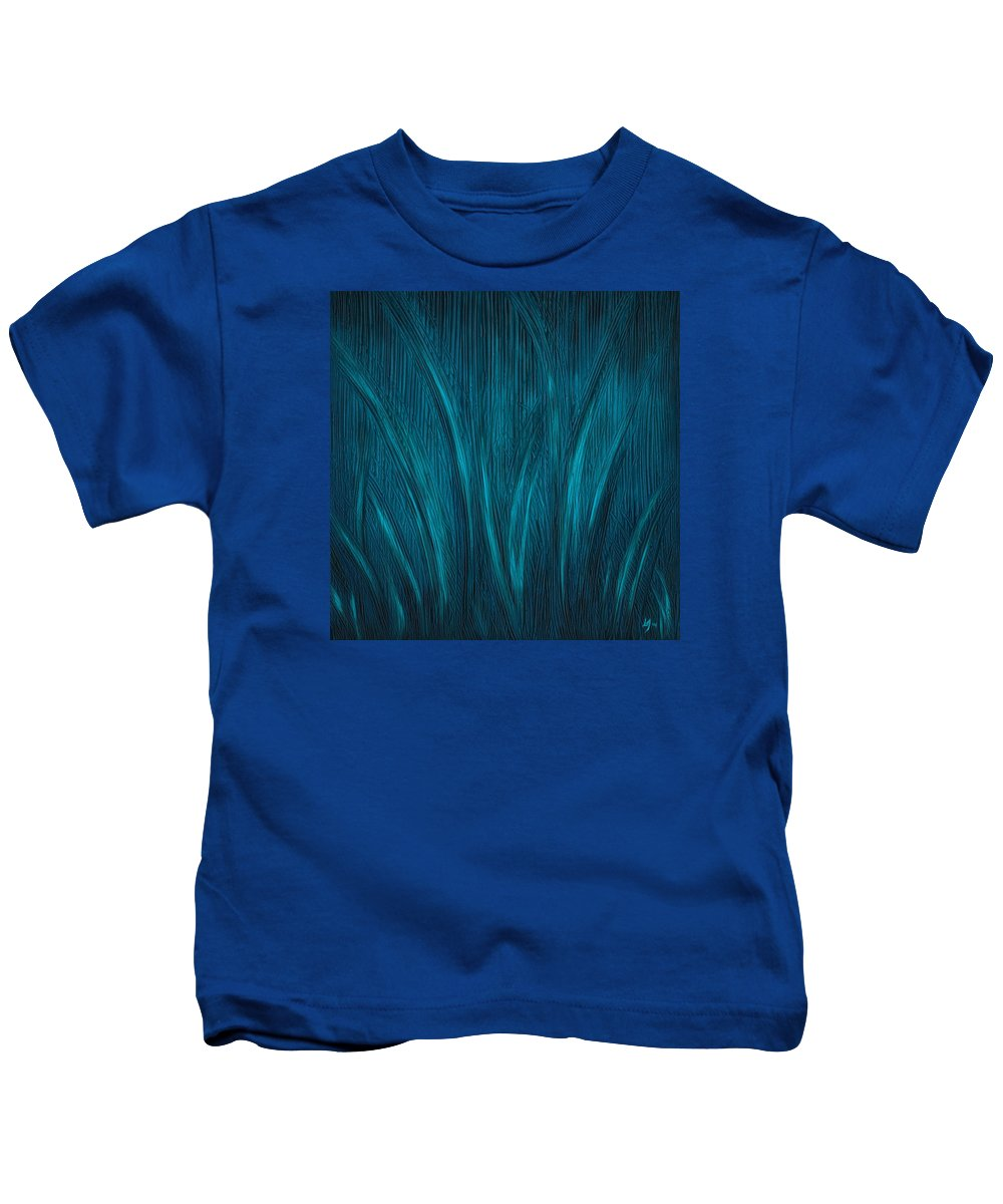 Abstract Kids T-Shirt featuring the painting Moonlit Grass by Laura Teti
