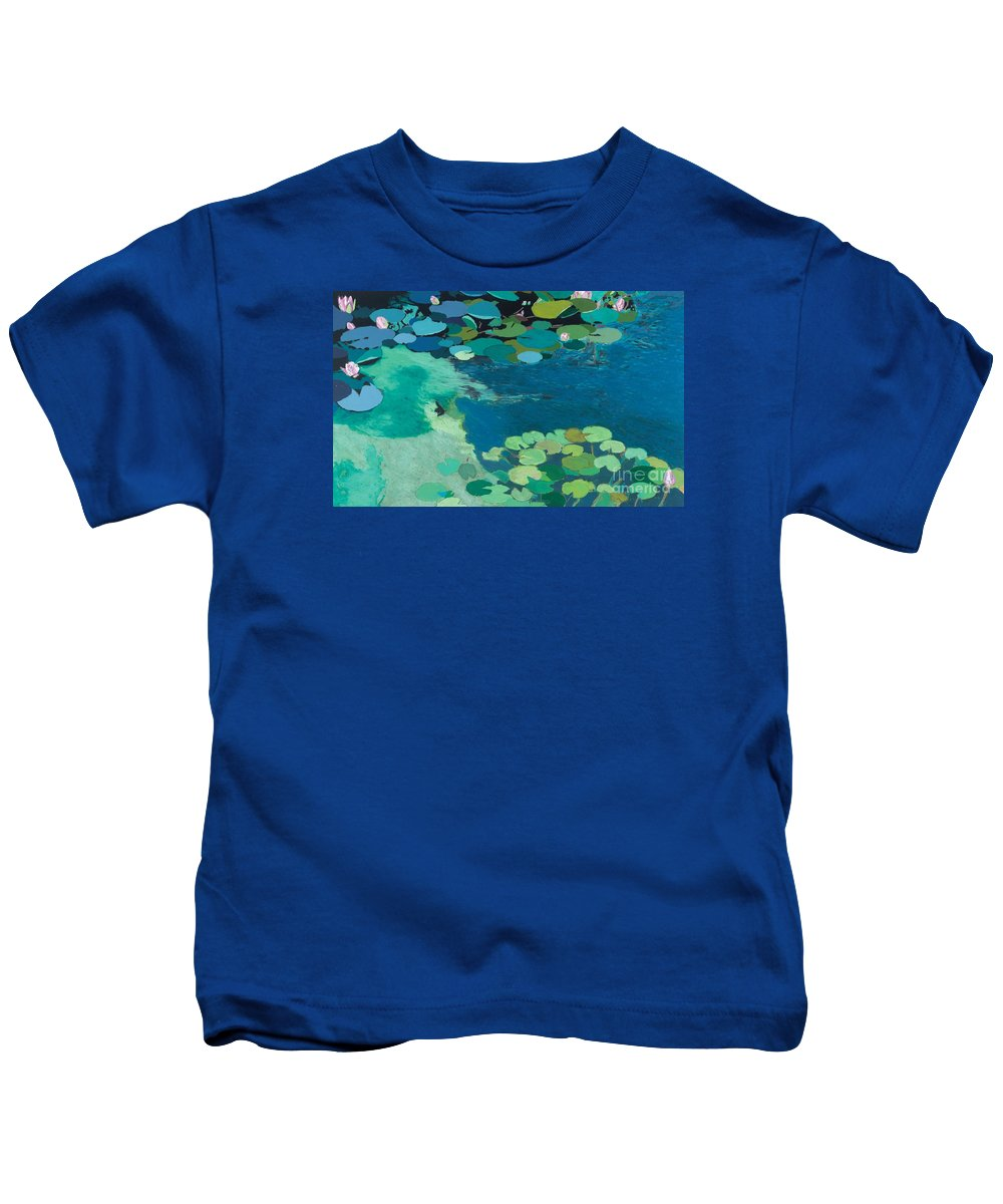 Landscape Kids T-Shirt featuring the painting Moonlit Shadows by Allan P Friedlander