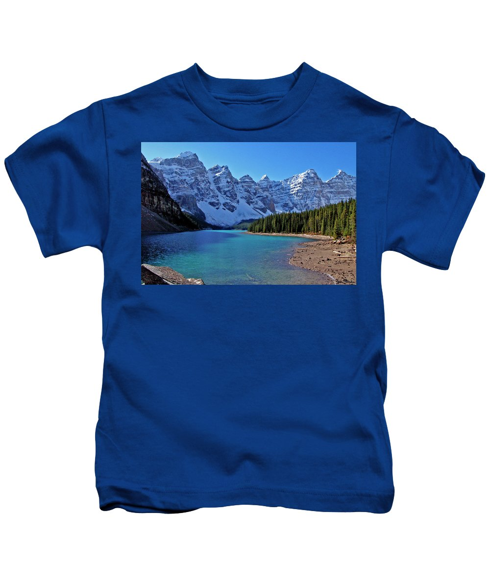 Jeremy Rhoades Kids T-Shirt featuring the photograph Moraine Lake by Jeremy Rhoades