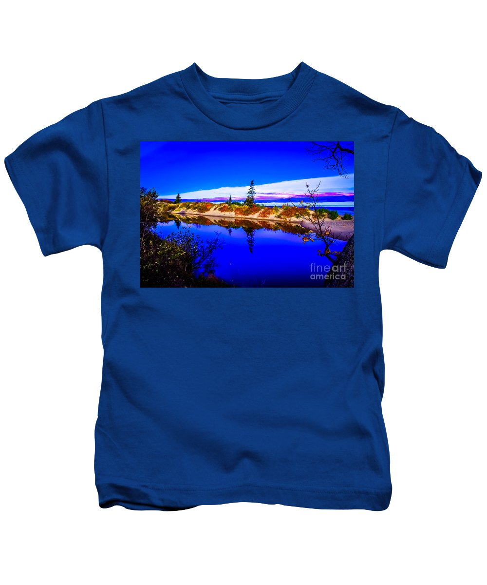 Optical Playground By Mp Ray Kids T-Shirt featuring the photograph Mouth Of The Two Hearted River by Optical Playground By MP Ray