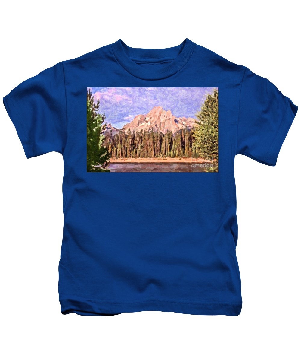 Mt Moran Kids T-Shirt featuring the digital art Mt Moran From Colter Bay by Liz Leyden