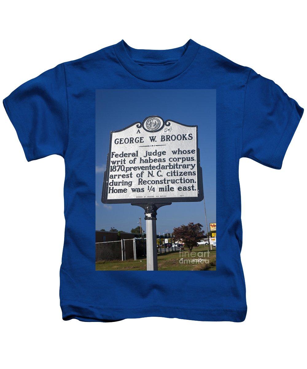 George W. Brooks Kids T-Shirt featuring the photograph Nc-a54 George W. Brooks by Jason O Watson