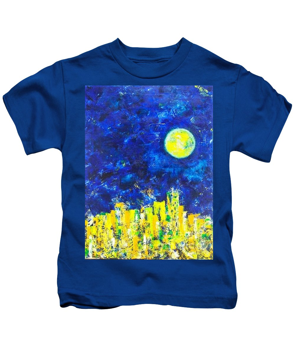 Sky Kids T-Shirt featuring the painting Night City by Olya Me
