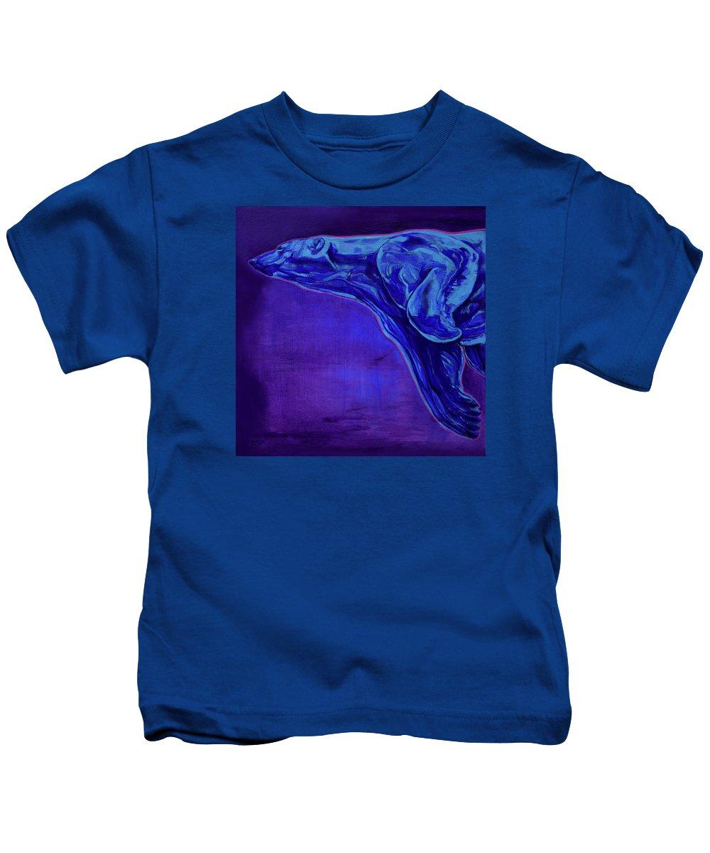Ursa Major Kids T-Shirt featuring the painting Night Swimmer by Derrick Higgins