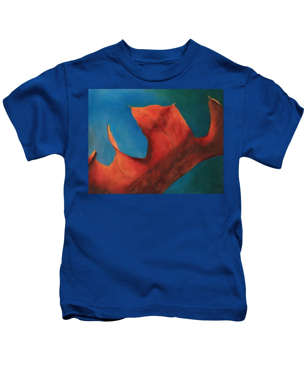 Original Oil Painting Kids T-Shirt featuring the photograph Oak Leaf Oil Painting by Michael Saunders