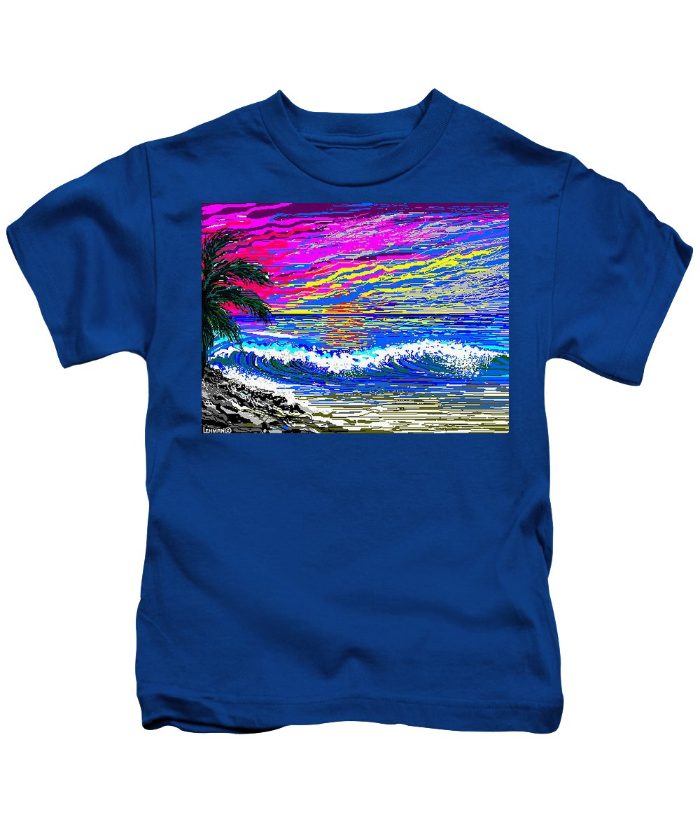 Ocean Sunset Quickly Sketched In One Hour. Kids T-Shirt featuring the digital art Ocean Sunset by Larry Lehman
