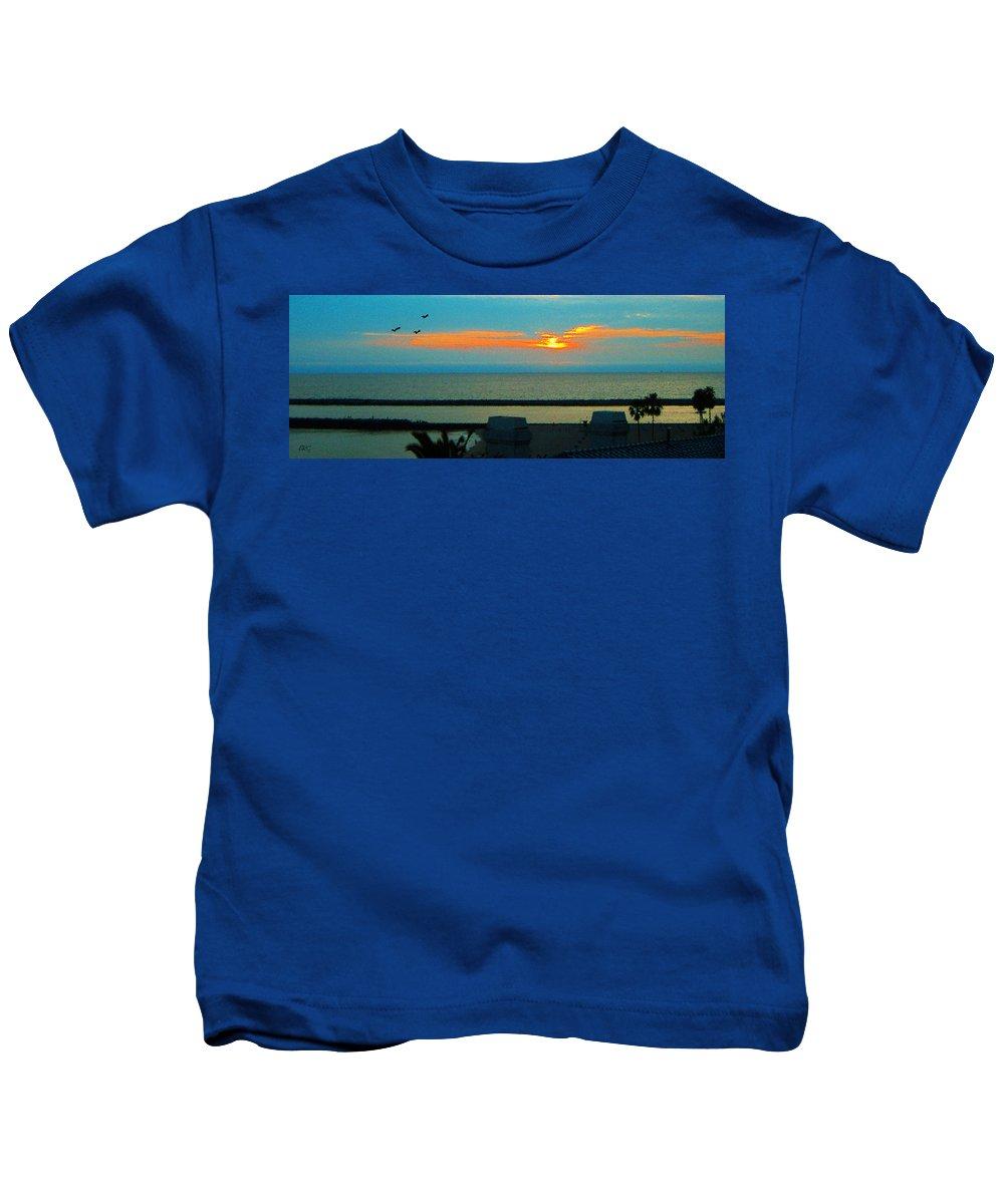 Sunset Kids T-Shirt featuring the photograph Ocean Sunset With Birds by Ben and Raisa Gertsberg