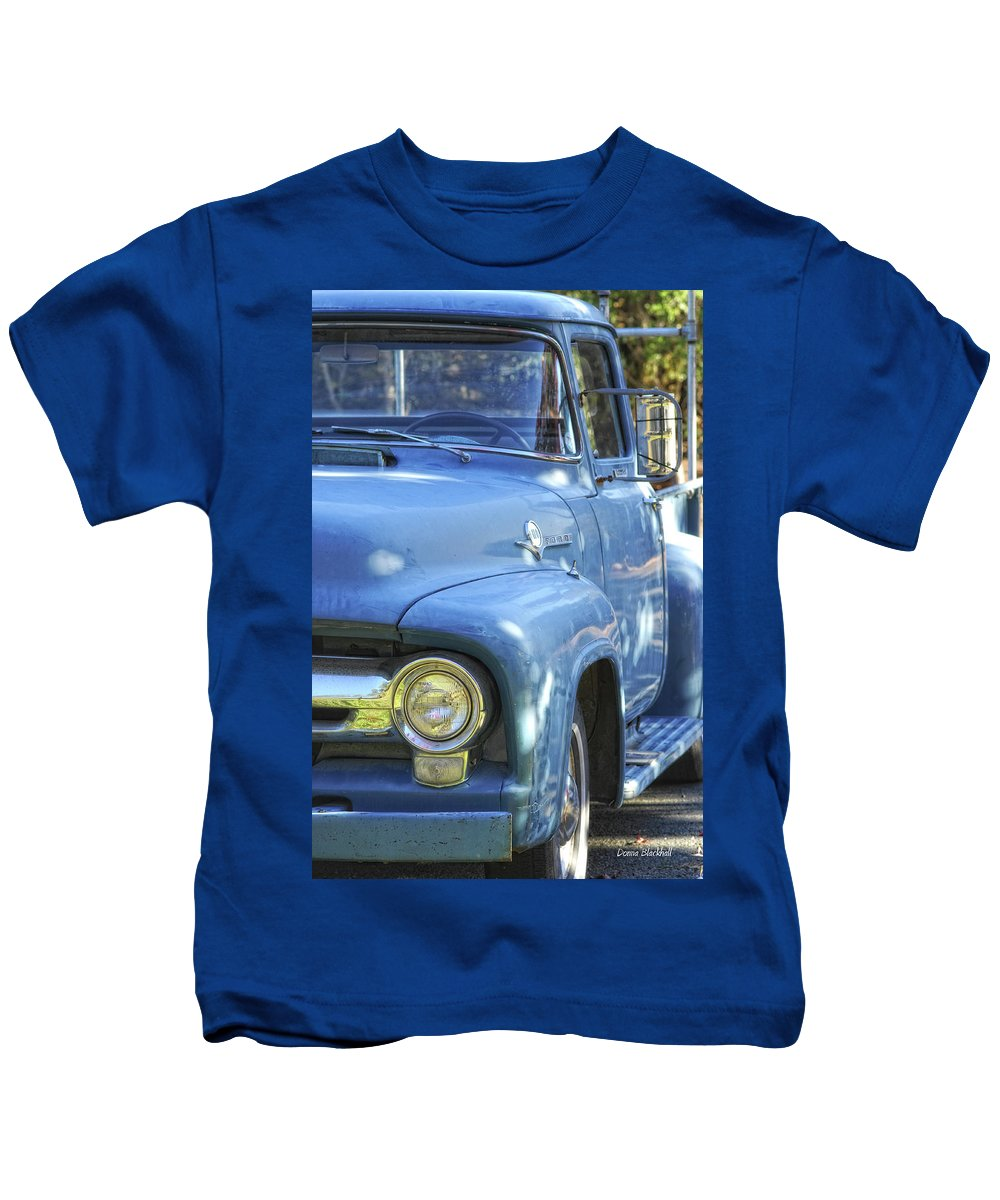Ford Kids T-Shirt featuring the photograph Old Blue by Donna Blackhall