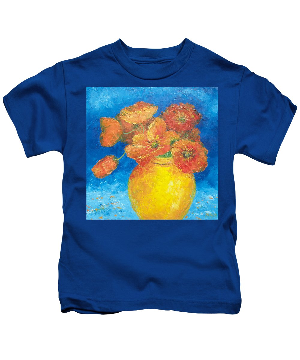 Poppies Kids T-Shirt featuring the painting Orange Poppies In Yellow Vase by Jan Matson