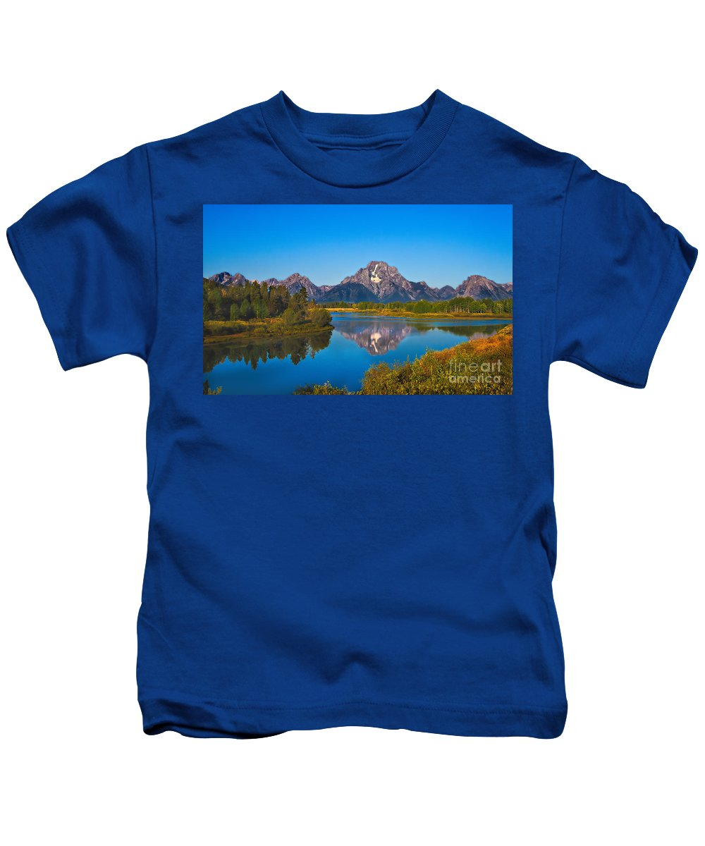 Grand Teton Kids T-Shirt featuring the photograph Oxbow Bend II by Robert Bales