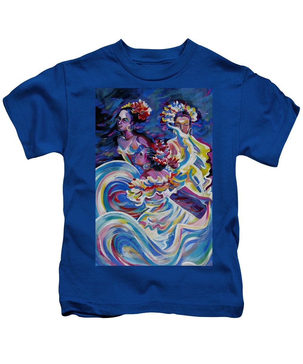 Carnival Kids T-Shirt featuring the painting Panama Carnival. Folk Dancers by Anna Duyunova