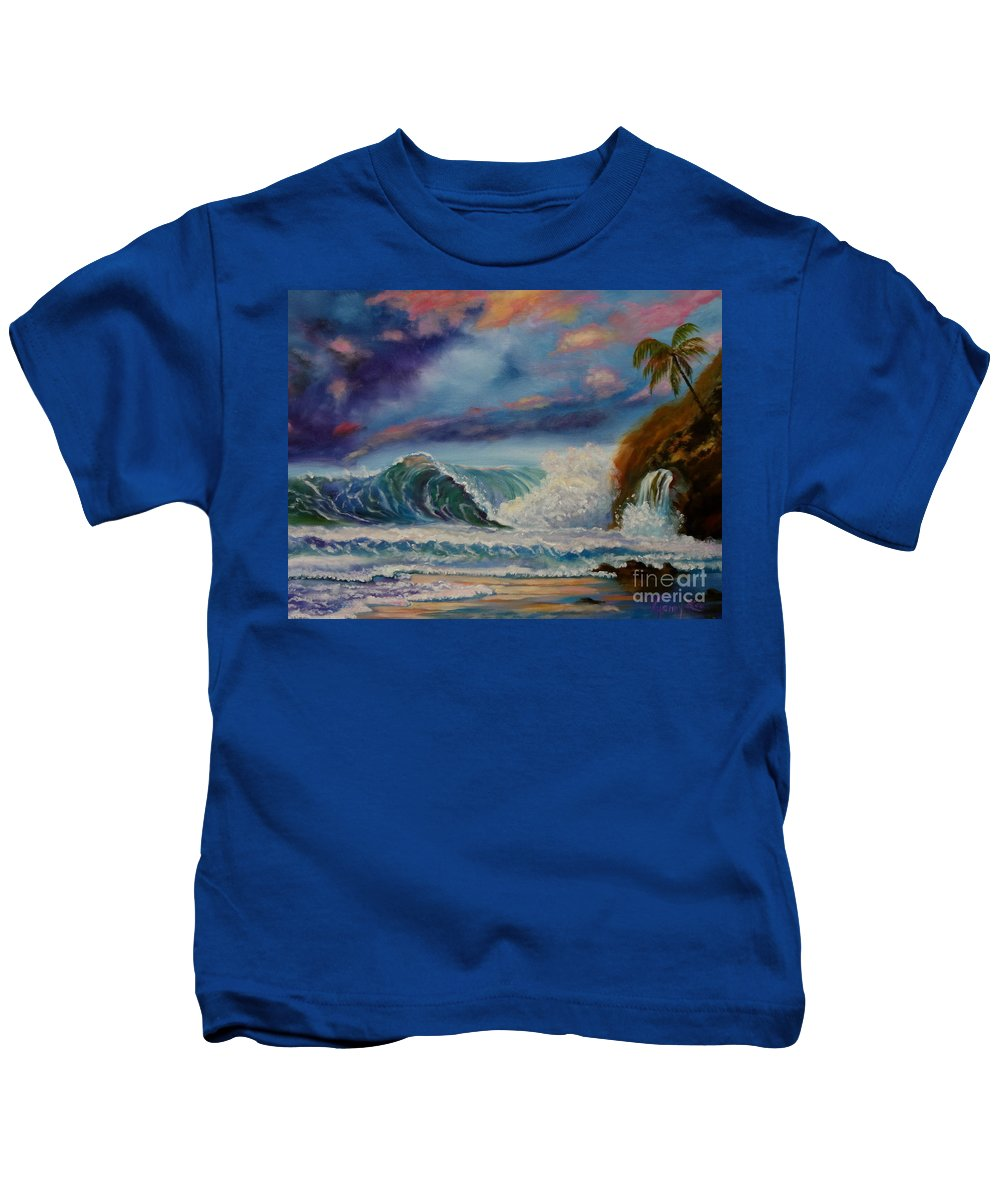Hawaiian Sunset Kids T-Shirt featuring the painting Pastel Sunset by Jenny Lee