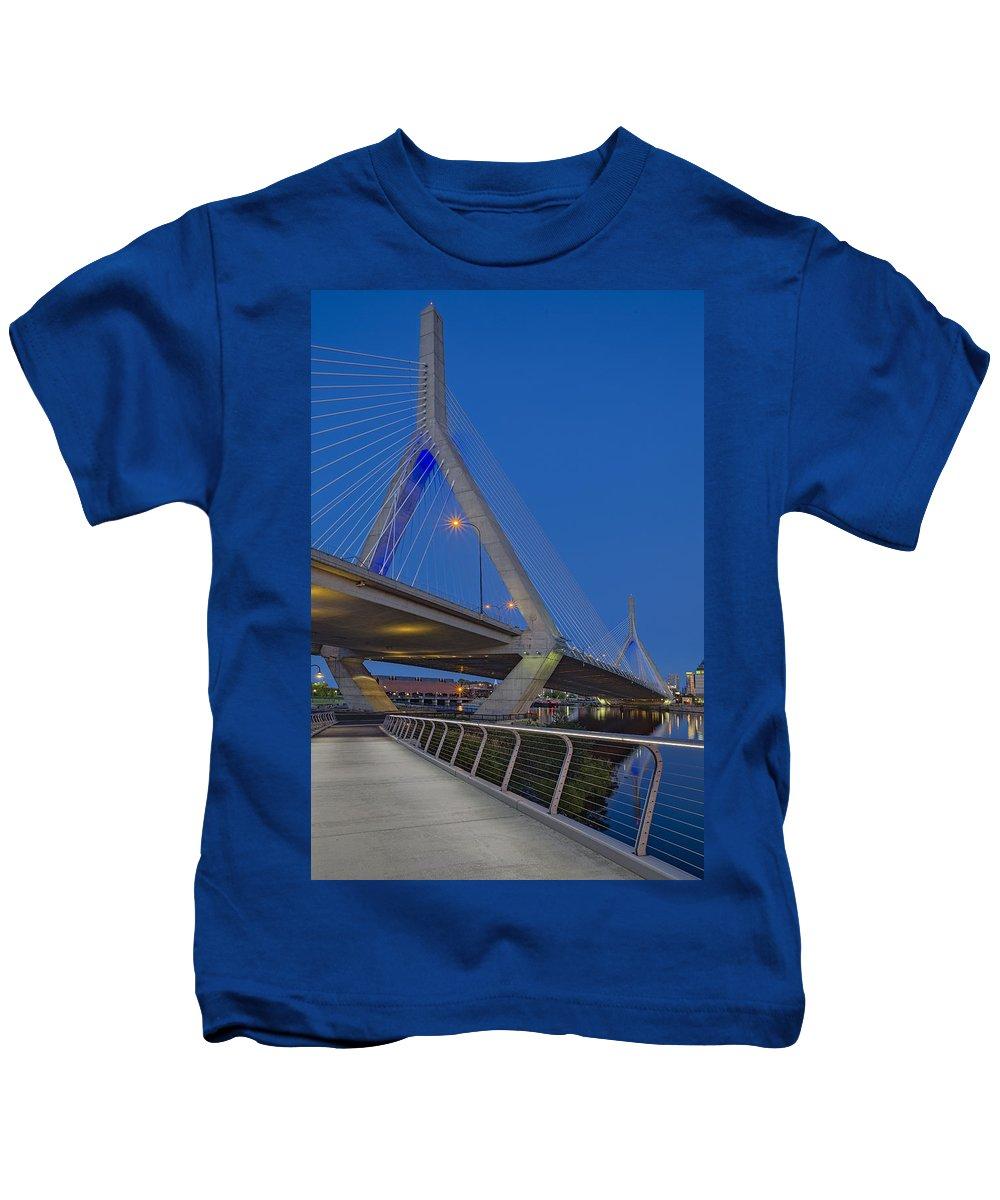Boston Kids T-Shirt featuring the photograph Path To The Leonard P. Zakim Bridge by Susan Candelario