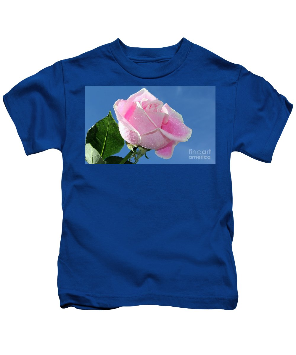 Rose Kids T-Shirt featuring the photograph Perfectly Pink by Krissy Katsimbras