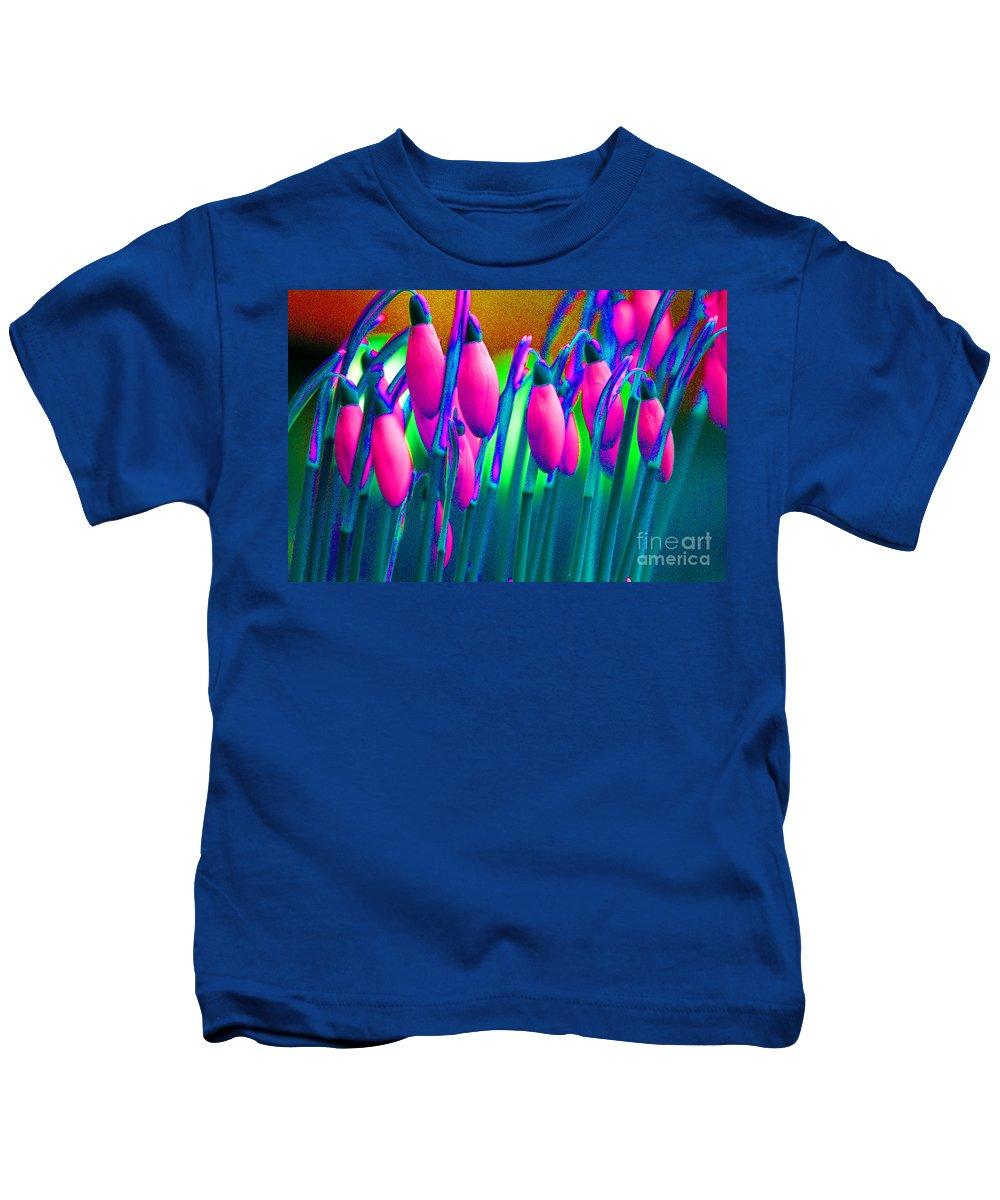 Pink Kids T-Shirt featuring the digital art Pink Snowdrops by Carol Lynch