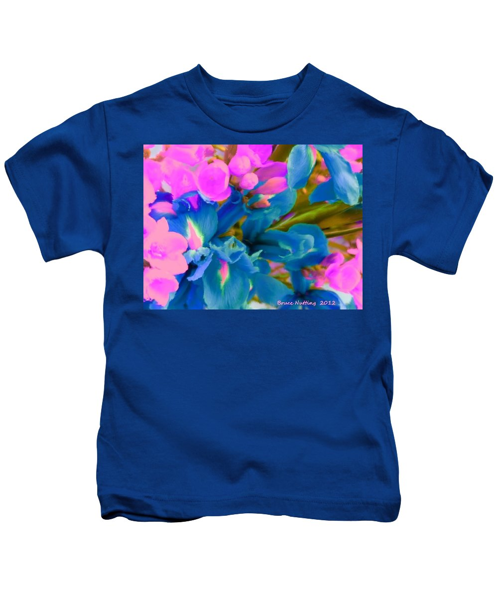 Pink Kids T-Shirt featuring the painting Pink With Blue Irises by Bruce Nutting