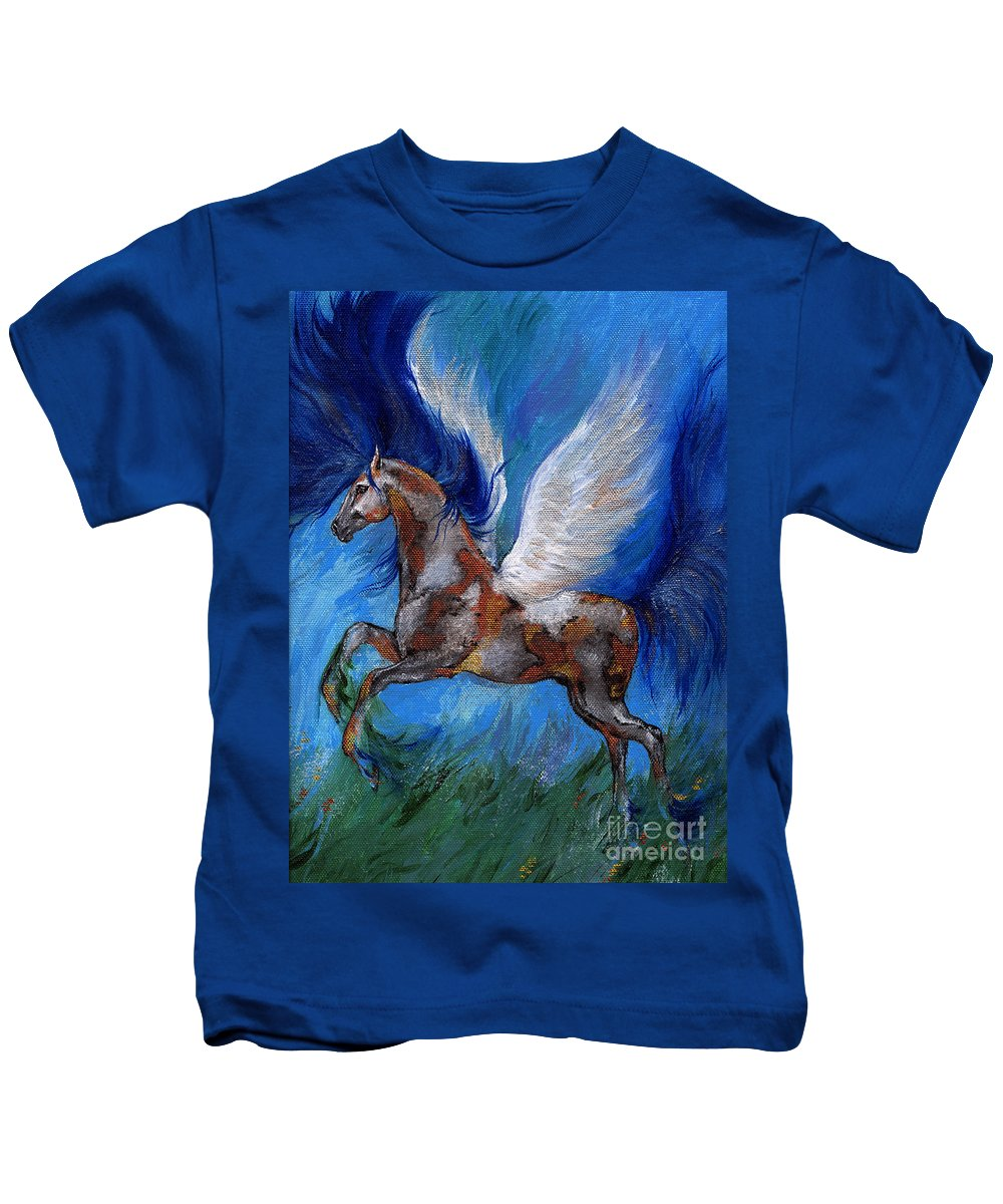Fairytale Kids T-Shirt featuring the painting Pinto Pegasus With Blue Mane by Angel Ciesniarska