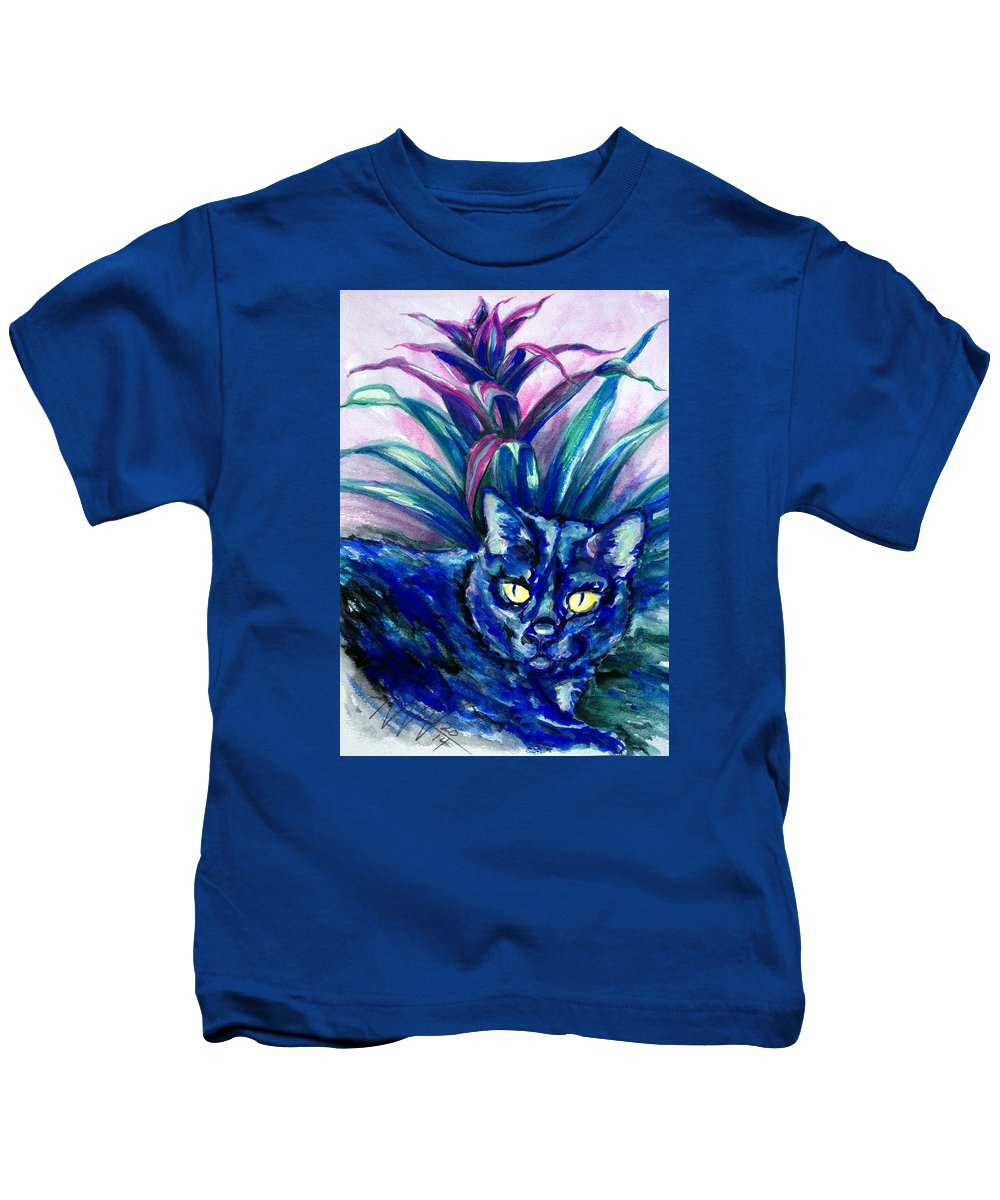 Cat Portrait Kids T-Shirt featuring the painting Pixie by Ashley Kujan