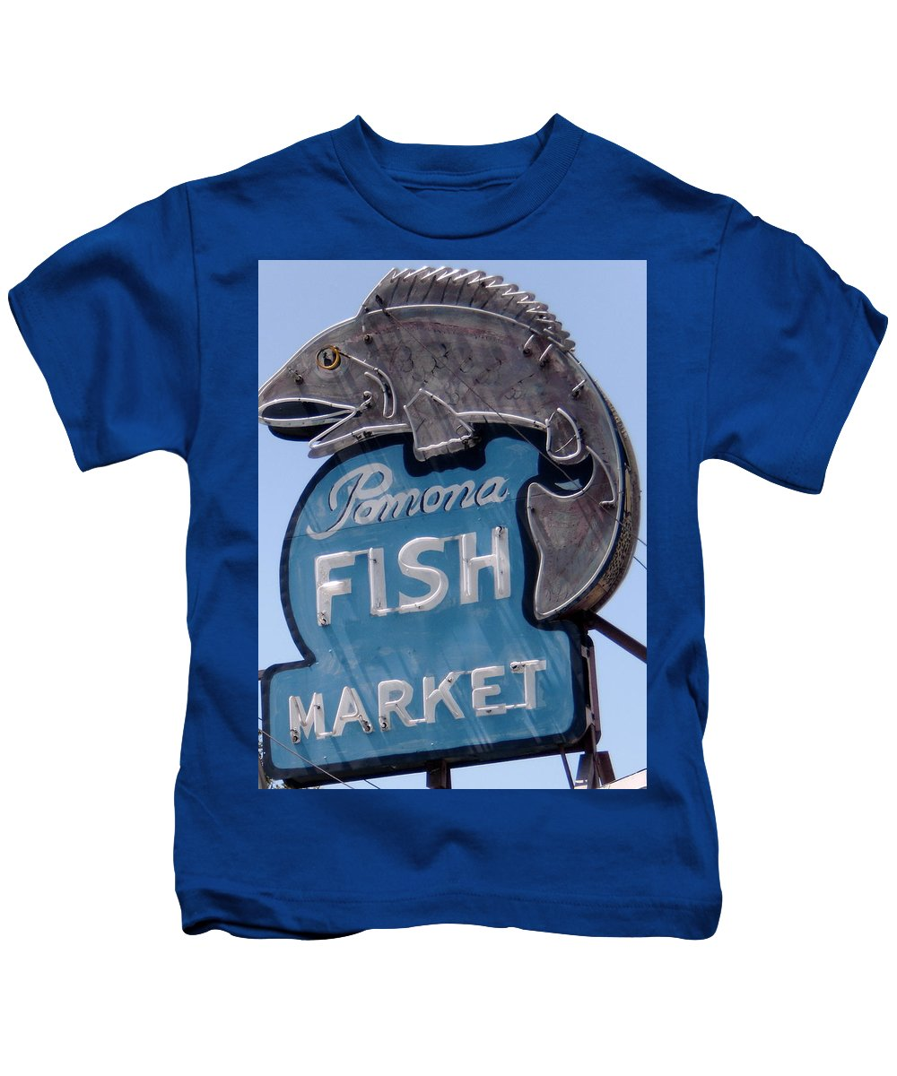 Neon Fish Sign Kids T-Shirt featuring the photograph Pomona Fish Market Sign by Gerry High