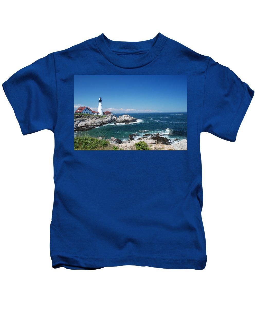 Portland Head Lighthouse Kids T-Shirt featuring the photograph Portland Head Lighthouse by Allen Beatty