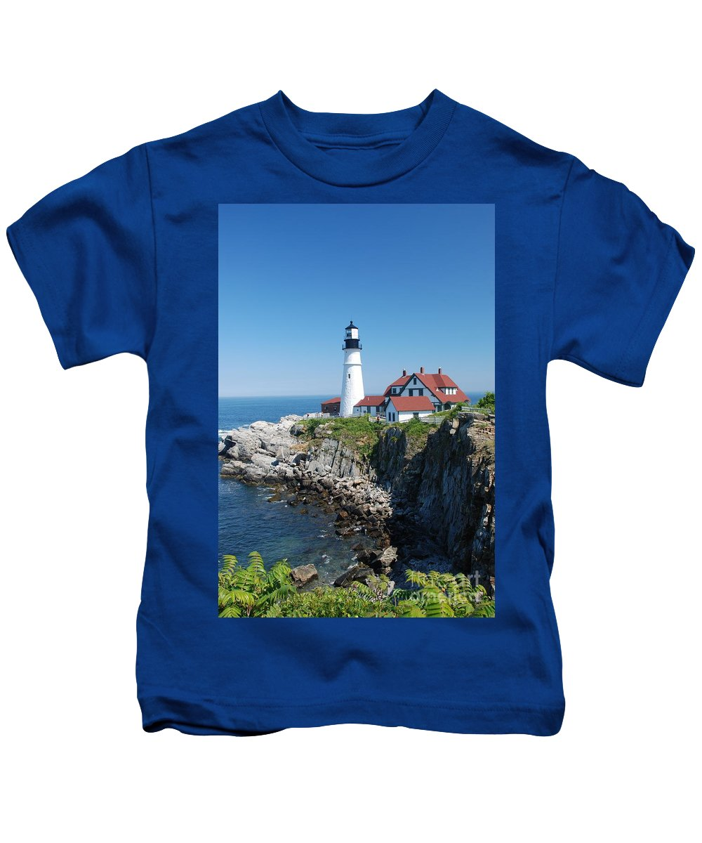 Portland Head Lighthouse Kids T-Shirt featuring the photograph Portland Lighthouse 2 by Allen Beatty