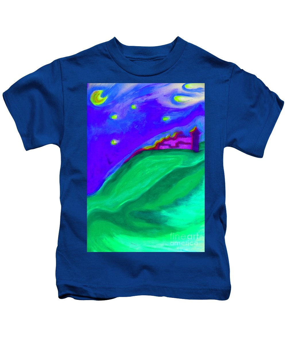 Castle Kids T-Shirt featuring the painting Purple Castle By Jrr by First Star Art