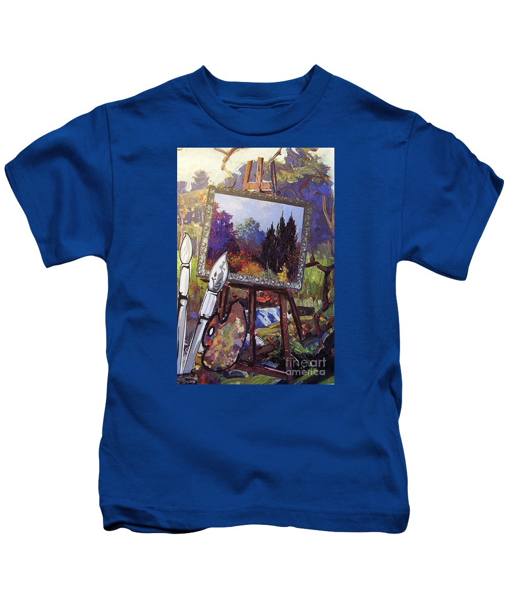 Easel Kids T-Shirt featuring the painting Put Color In Your Life by Eloise Schneider Mote