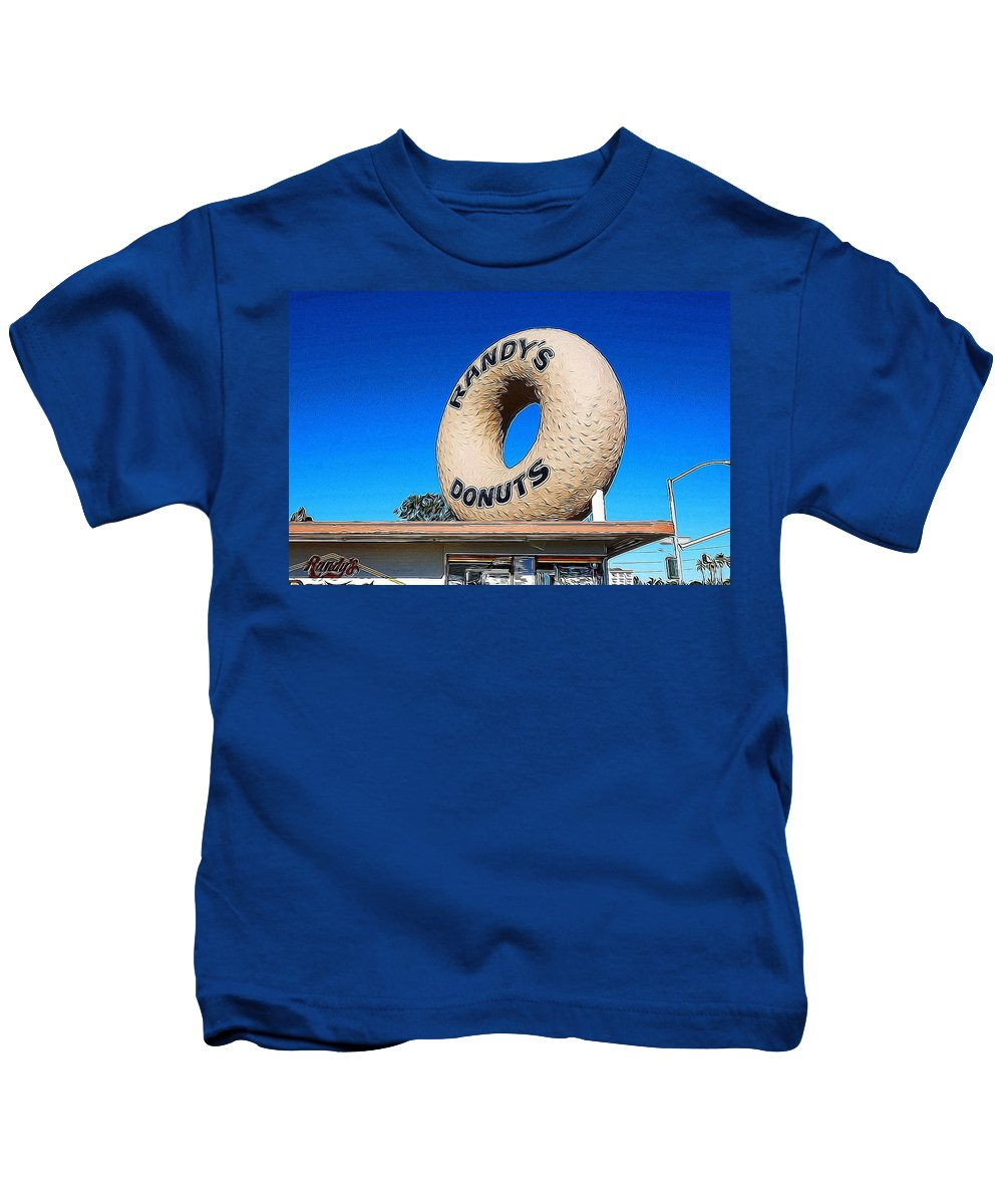 Mark J Dunn Kids T-Shirt featuring the photograph Randy's Donuts by Mark J Dunn