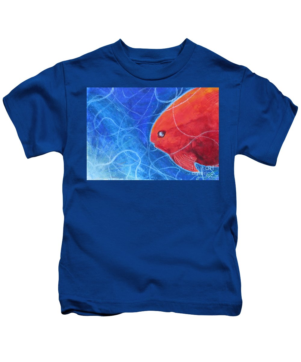 Red Kids T-Shirt featuring the painting Red Fish by Samantha Geernaert