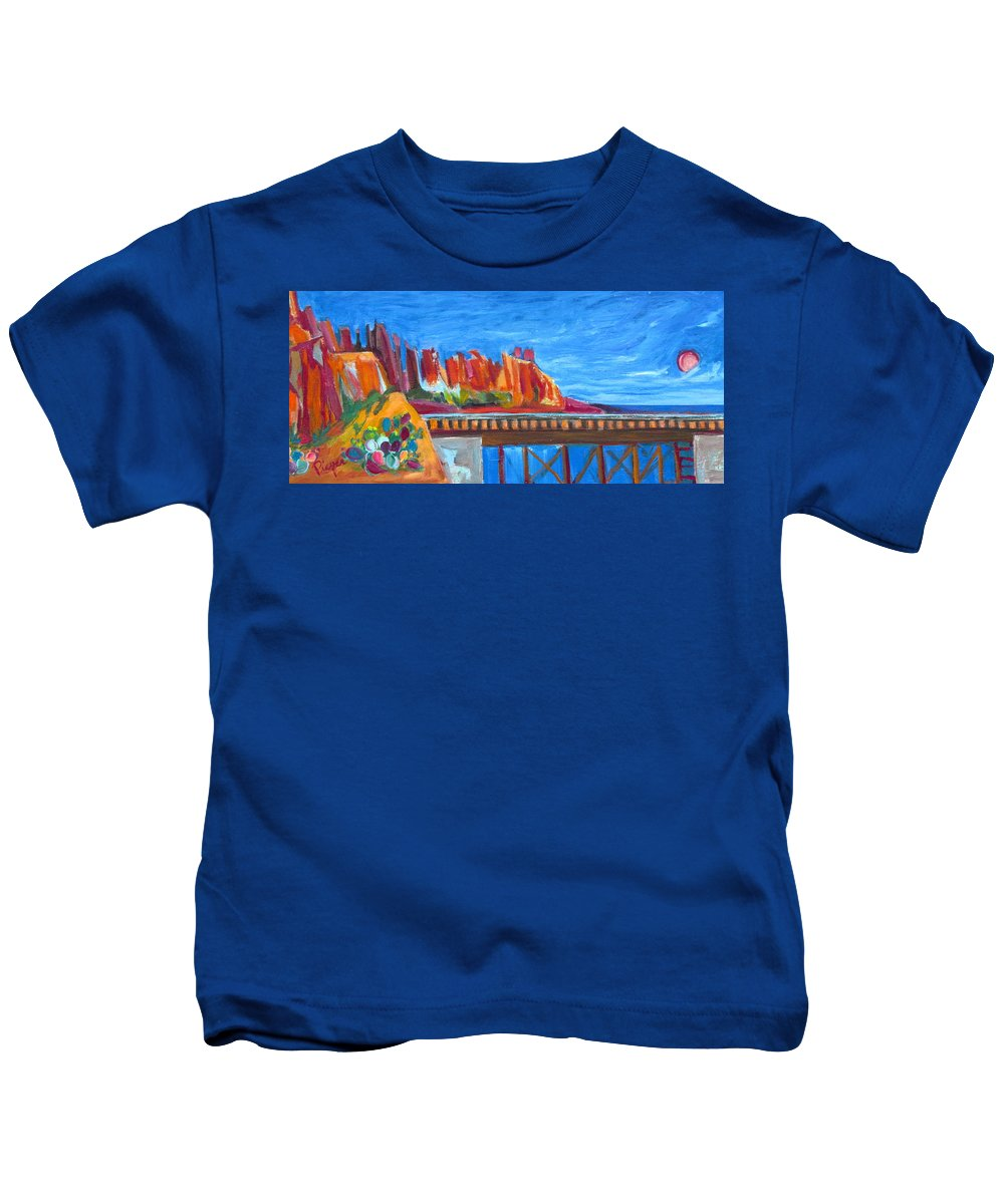 Southwest Kids T-Shirt featuring the painting Red Rocks And Railroad Trestle by Betty Pieper