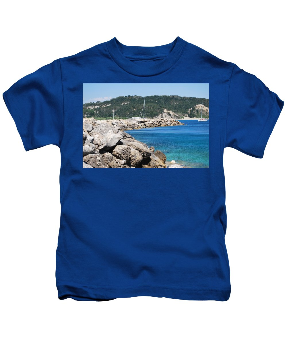 Erikousa Kids T-Shirt featuring the photograph Rocks And Sea by George Katechis