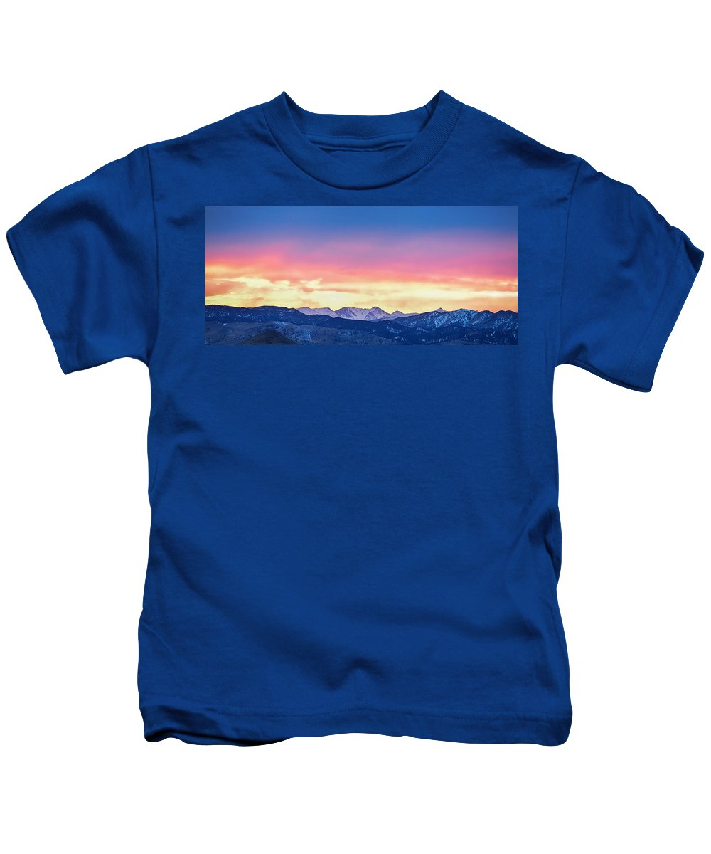 Winter Kids T-Shirt featuring the photograph Rocky Mountain Sunset Clouds Burning Layers Panorama by James BO Insogna