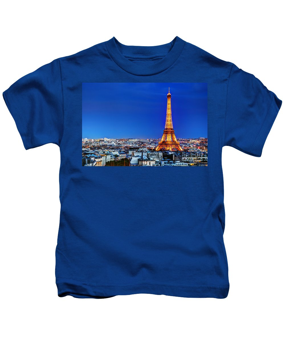 Eiffel Kids T-Shirt featuring the photograph Rooftop View On The Eiffel Tower by Michal Bednarek