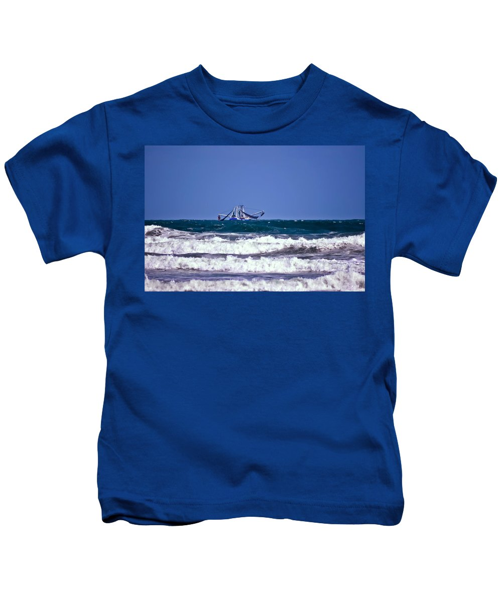 Boat Kids T-Shirt featuring the photograph Rough Seas Shrimping by DigiArt Diaries by Vicky B Fuller