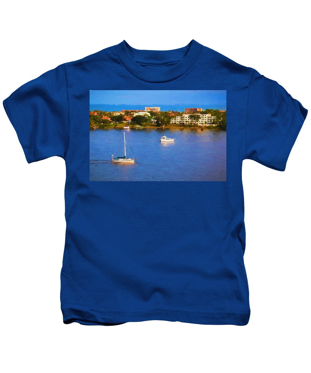 Sailboat Kids T-Shirt featuring the photograph Sailboat In Holly Hill by Alice Gipson