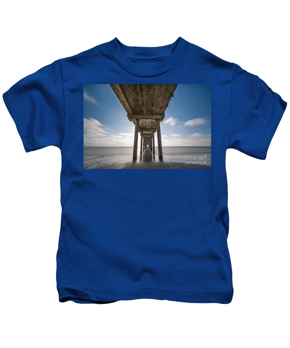 Michael Ver Sprill Kids T-Shirt featuring the photograph Scripps Pier Long Exposure by Michael Ver Sprill