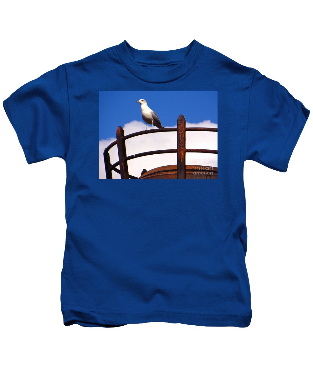 Gulls Kids T-Shirt featuring the photograph Sentinel Sea Gull by Joy Hardee
