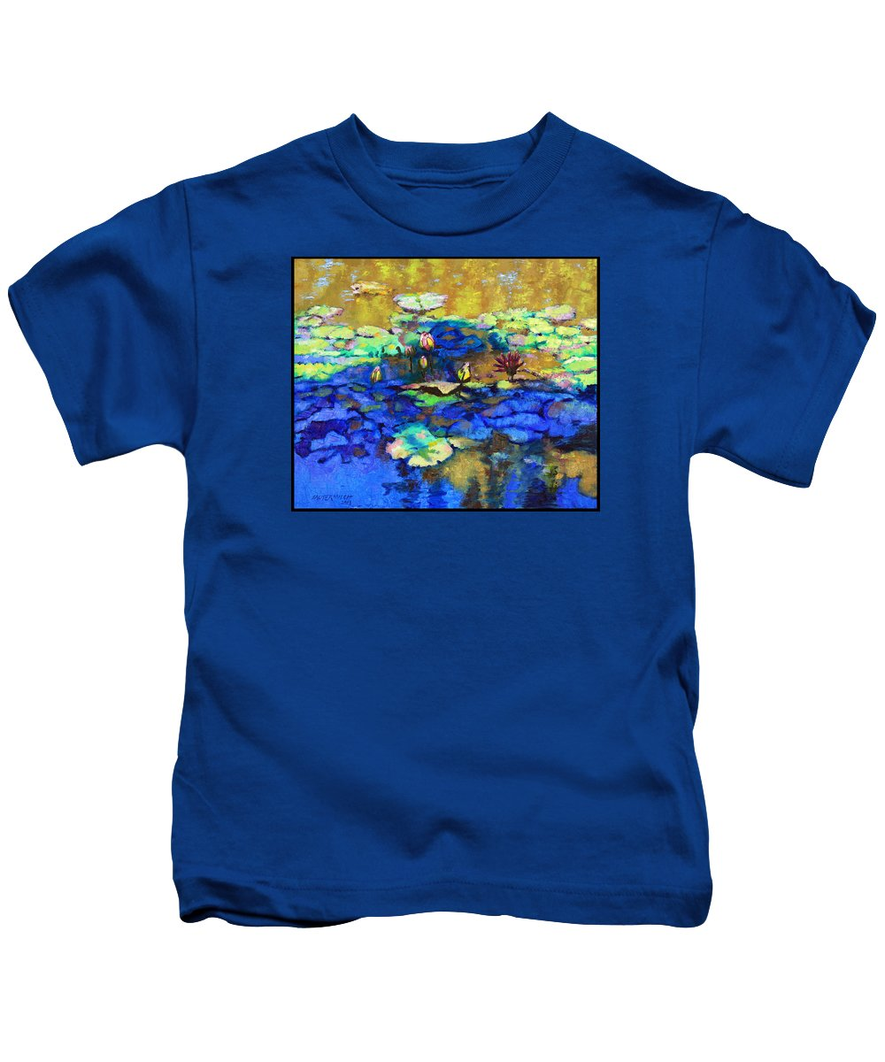Garden Pond Kids T-Shirt featuring the painting Shadows And Sunspots by John Lautermilch