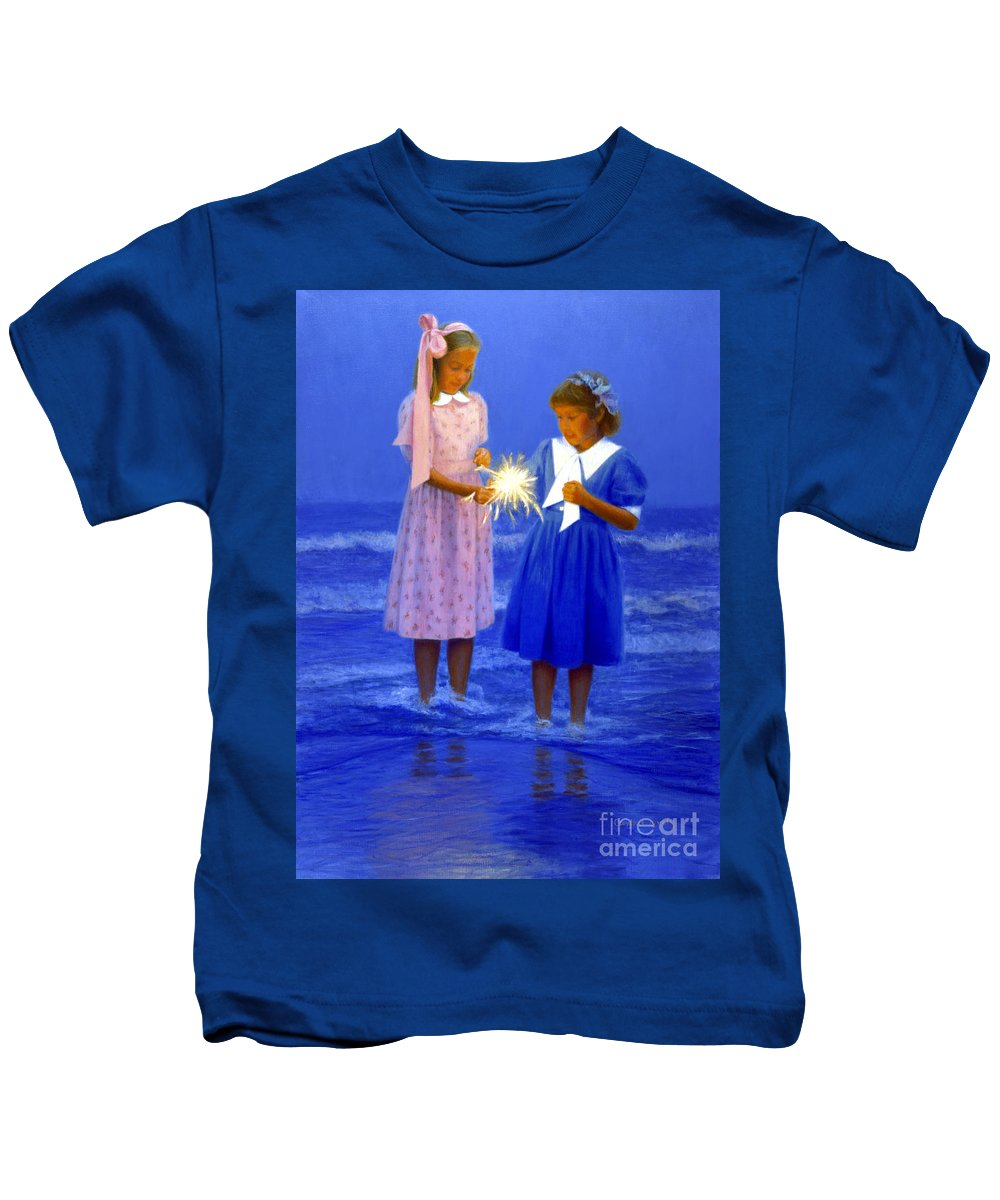 Girls Kids T-Shirt featuring the painting Sharing A Sparkler by Candace Lovely