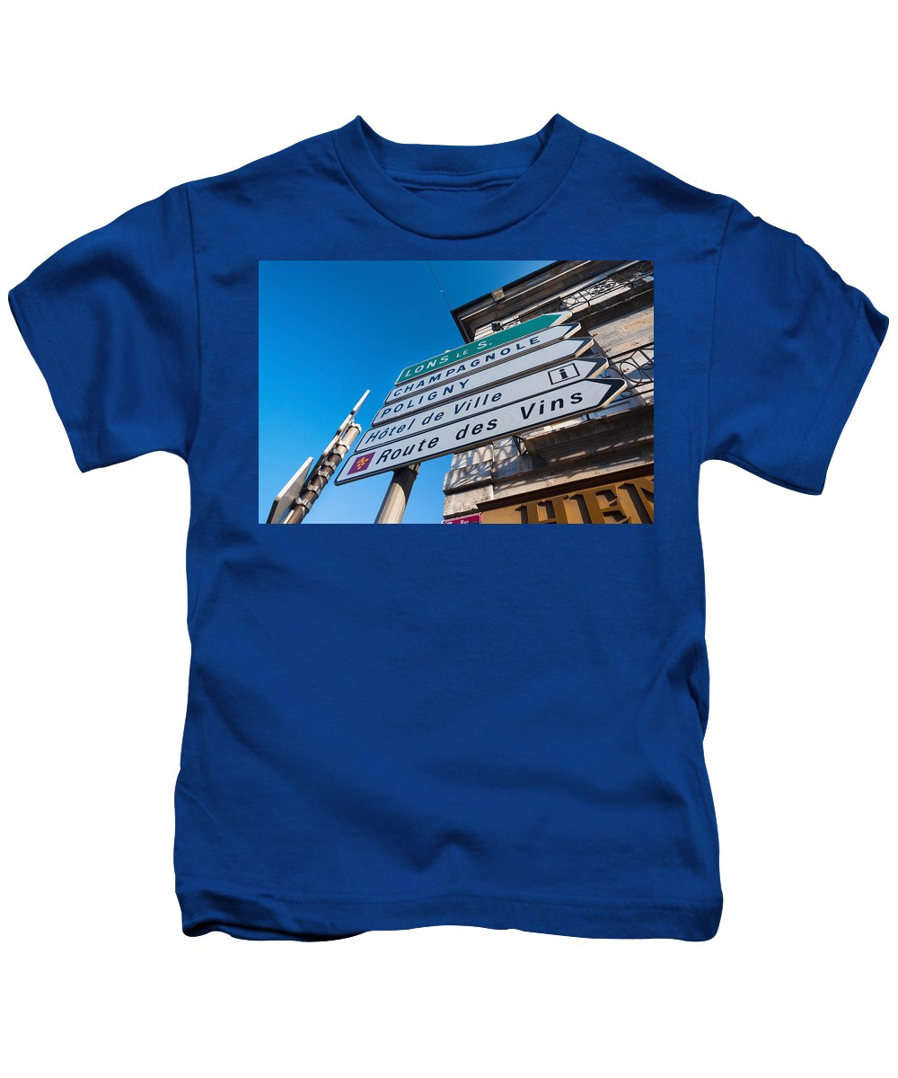 Photography Kids T-Shirt featuring the photograph Sign For The Route Des Vins, Arbois by Panoramic Images