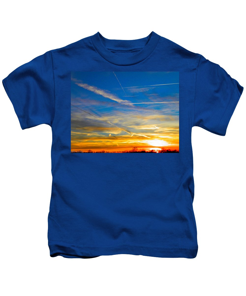 Contrails Kids T-Shirt featuring the photograph Silver Wing Sunset by Nick Kirby