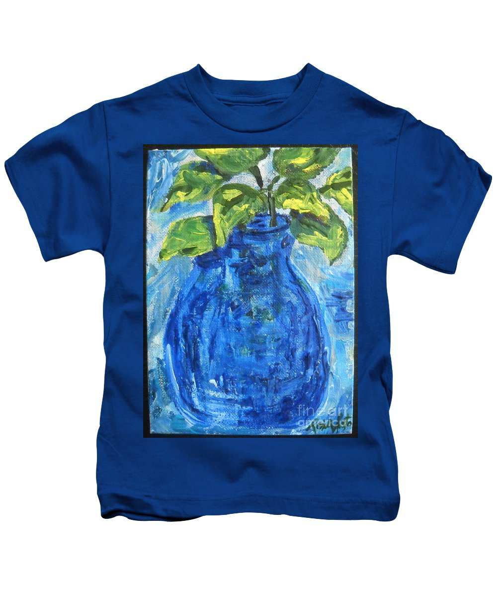 Botanical Kids T-Shirt featuring the painting Simple Greens by Reina Resto