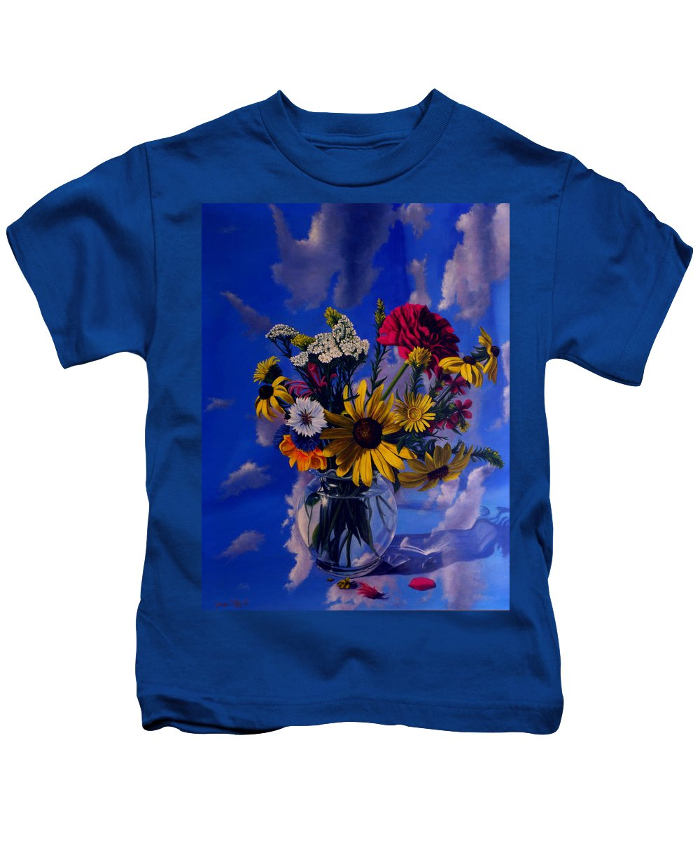 Flower Paintings Still Life Paintings Bouquet Nature Garden Oilpaintings Kids T-Shirt featuring the painting Sky Flowers by George Tuffy