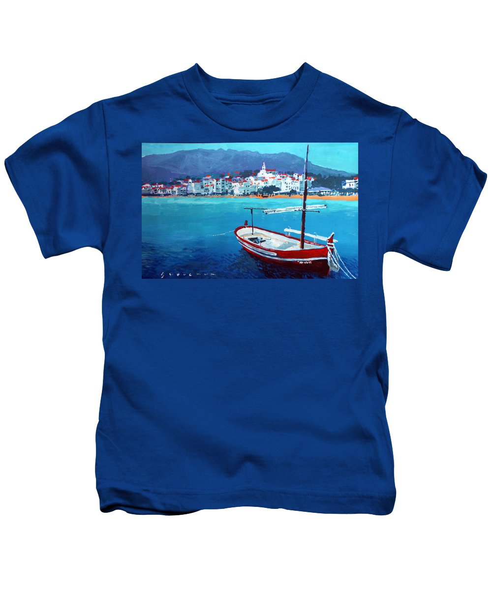 Acrilic Kids T-Shirt featuring the painting Spain Series 08 Cadaques Red Boat by Yuriy Shevchuk