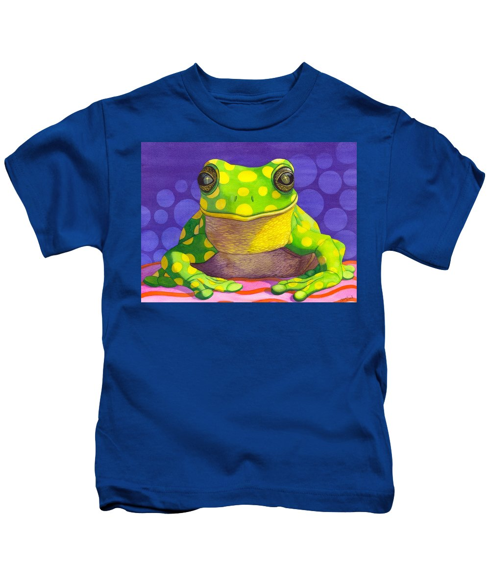 Frog Kids T-Shirt featuring the painting Spotted Frog by Catherine G McElroy