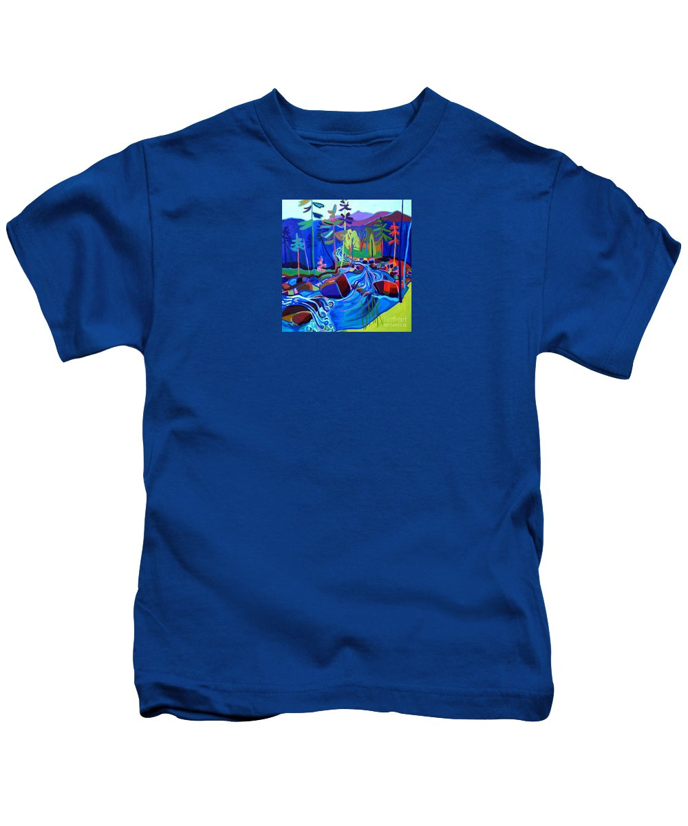 Landscape Kids T-Shirt featuring the painting Spring Thaw Wildcat River Jackson NH by Debra Bretton Robinson